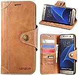 LENSUN Echtleder Handyhülle für Samsung Galaxy S7 Edge, Hülle Echtes Leder Lederhülle Wallet Hülle Handytasche Schutzhülle - Braun