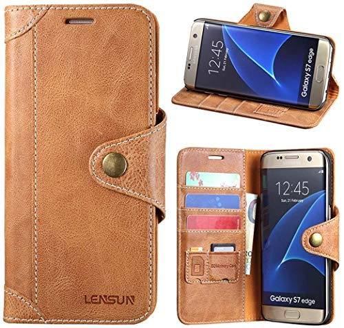 LENSUN Galaxy S7 Edge Hülle, Echt Lederhülle Wallet Stand Flip Tasche Handyhülle für Samsung Galaxy S7 Edge Schutzhülle - Braun