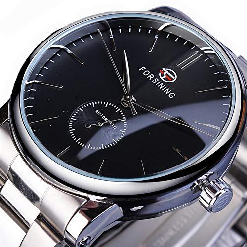 Excellent Herrenuhr Analog Automatisch Uhr Analog Quarz Herrenarmbanduhr mit Metall-Armband Glasboden,Blau