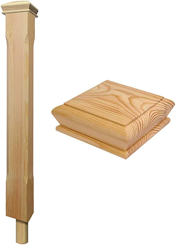 Pine Stop Chamfered Peg Newel Stair Post