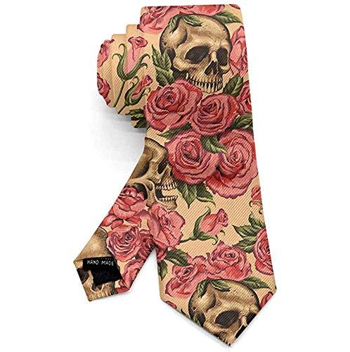 Corbata para hombre, diseño de calavera con rosas y flores, color ros
