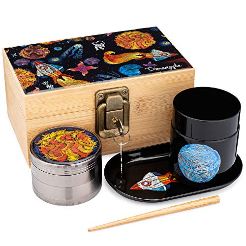 Lost in Space Stash Box Combo, 4 Part Herb Grinder, UV Glass Jar (100 ml), Rocket Tray, Poking Tool, Locking Stash Box - Astronaut Smell Proof Container Accessories Set