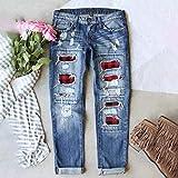 LONEA Buffalo Plaid Patch Jeans, Plaid Ripped 3D Print Skinny Jeggings, Women's Buffalo Plaid Print Ripped Jeans Patchwork Destroyed Skinny Jeans, Christmas Red Plaid Printed Casual Jeans (Blue, XL)