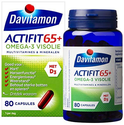 Davitamon Actifit 65+ Omega-3 Visolie - speciaal ontwikkeld voor volwassenen vanaf 65 jaar en voorziet in de dagelijkse aanvulling van vitamines en mineralen - 80 stuks - Voedingssupplement