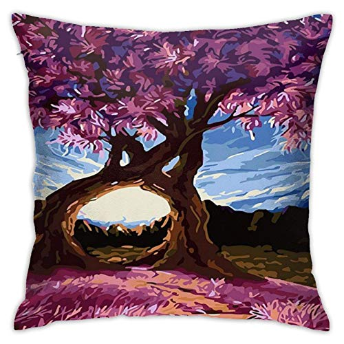 ChenZhuang Abstract mese Tree Painting Cotton Linen Pillow Case Sofa Home Bedroom Car Cushion Cover Decoration 18'' x 18''.