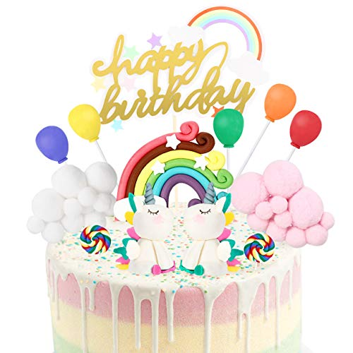 joylink Unicornio Decoracion Tarta, Unicornio Cake Toppers Kit Decoracion Tartas Cumpleaños Infantiles con Arcoiris, Nubes, Globos y Piruleta, Happy Birthday Cake Topper Set para Bebés, Niños, Niñas