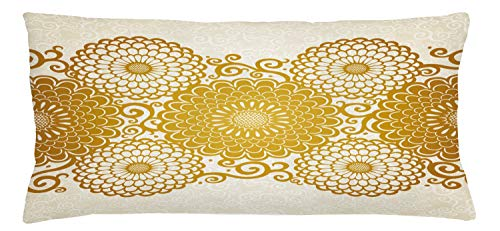 ABAKUHAUS Mandala Throw Pillow Cushion Cover, Border with Large Flowers and Curls Chrysanthemums Peonies Rococo Style, Decorative Square Accent Pillow Case, 36 X 16 Inches, Eggshell Earth Yellow