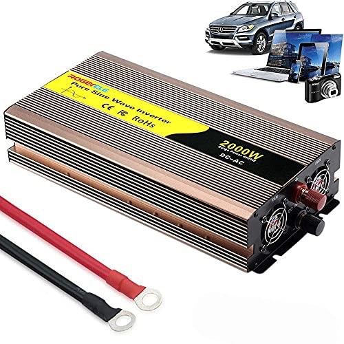 FSCLJ Inversor de Corriente 2000w (Pico 4000w) 12v / 24v / 48v / 60v a CA 230v Onda Pura convertidor de Corriente con Puerto de Carga USB, se Puede conectar Directamente a la batería del automóvil