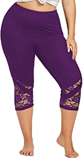 Plus Size Yoga Pants for Womens, FORUU Lace Skinny Sport Pants Leggings Trousers