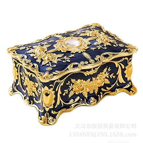 VOANZO Sieradendoos, Europese Emaille Zink Legering Opslag Ring Oorbellen Sieraden Treasure Box Lijm Home Decoratie Organisator Ring Ketting Armband (Blauw)