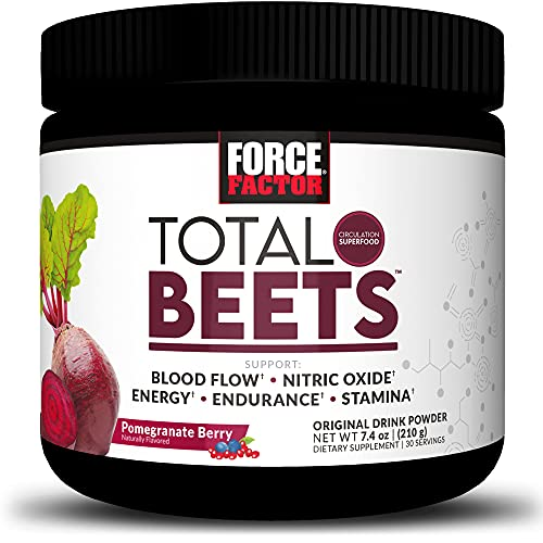 Force Factor Total Beets Drink Mix Superfood Powder with Nitrates to Support Circulation, Blood Flow, Nitric Oxide, Energy, Endurance, and Stamina, Cardiovascular Heart Health Supplement, White