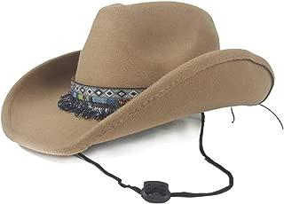 PANFU-AU Wide Brim Hat Women Men Wool Western Cowboy Hat with Tassel Ribbon Pop Fedora Hat Size 56-58CM (Color : Khaki, Size : 56-58)