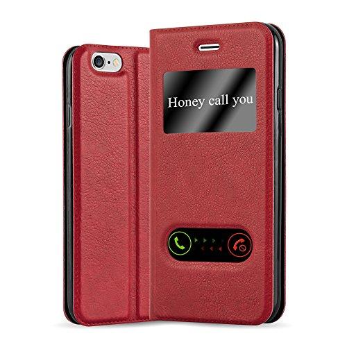 Cadorabo Hülle für Apple iPhone 6 / iPhone 6S in Safran ROT – Handyhülle mit Magnetverschluss, Standfunktion & 2 Sichtfenstern – Hülle Cover Schutzhülle Etui Tasche Book Klapp Style