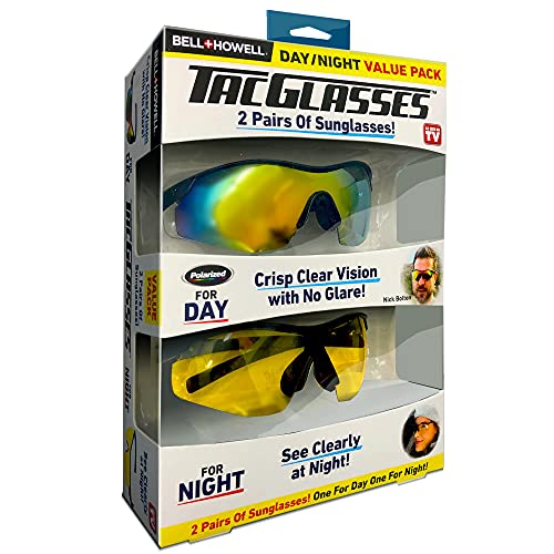 TAC GLASSES Day/Night 2 Pairs Tac Polarized Sunglasses Sports Outdoor Sunglasses for Men/Women, Unisex, Military Eyewear Original As Seen On TV,New in Box