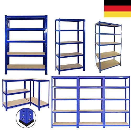 Schwerlastregal 180x90x40cm (HxBxT) Regal Metall 5 Etagen Kellerregal, Lagerregal, Werkstattregal oder Garagenregal - 5 MDF-Platten, Tragkraft bis zu 875kg - Blau