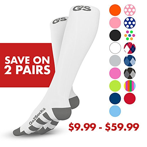 Go2Socks GO2 Compression Socks for Men Women Nurses Runners 20-30 mmHg (high) - Medical Stocking Maternity Travel - Bet Performance Recovery Circulation Stamina - (2White,XL)