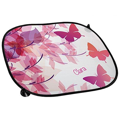 Auto-Sonnenschutz mit Namen Clara und schönem Schmetterling-Motiv für Mädchen - Auto-Blendschutz - Sonnenblende - Sichtschutz
