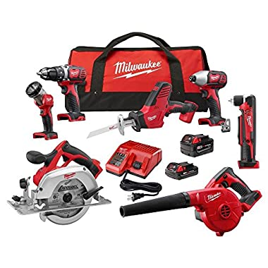 Milwaukee M18 18-Volt Lithium-Ion Cordless Combo Kit (7-Tool) w/(2) Batteries, Charger, (1) Tool Bag