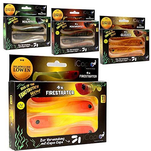 iCapio Fangtastics Gummiköder 11cm - 16 Gummifische in 4 Varianten - zum Angeln auf Barsch, Hecht, Zander, Dorsch
