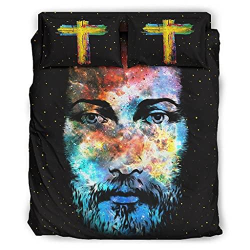 WellWellWell Juego de cama de 4 piezas con diseño de Dios Cara...