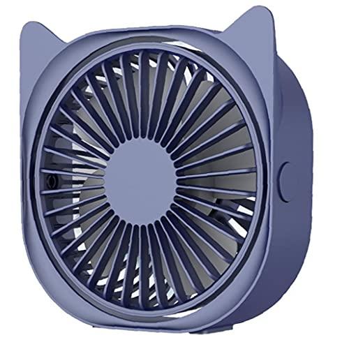 lujiaoshout USB-Schreibtisch-Ventilator-beweglichen Katze-Ohr-Minischreibtisch-Ventilator 3 Geschwindigkeiten einstellbar 360 ° Rotation Ventilator für Home Office Außen Travel Blue, Wohnversorgung