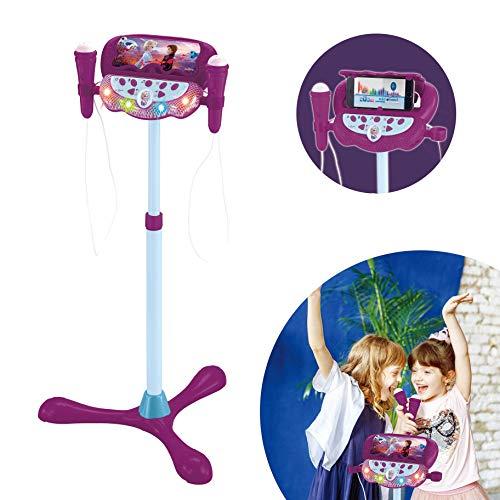 Lexibook S160FZ Frozen Die Eiskönigin Standlichtlautsprecher für Kinder, musikalisches Spiel, verstellbare Höhe, lichteffekte, 2 Mikrofone inklusive, MP3-Stecker, Audiokabel-Stecker, lila/blau