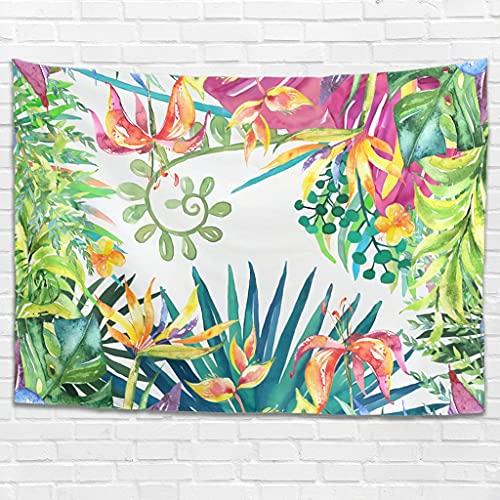 Tapiz decorativo de pared con hojas tropicales, hojas y flores, estilo vintage, para dormitorio, salón, como toalla de playa, esterilla de yoga, color blanco, 100 x 150 cm