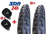 2 Neumáticos Negro para Bici Bicicleta 14 X 1.75 + 2 Cámaras de Aire Compatible