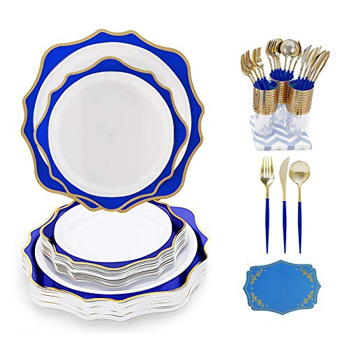 N9R 240 Pcs Plastic Plates Disposable Dinnerware, Gold Trim Cutlery Silverware Tableware with Ergonomic Handle, 60 Plastic Plates, 30 Plastic Cutlery, 30 Cups, 30 Napkins for Party Wedding Birthday