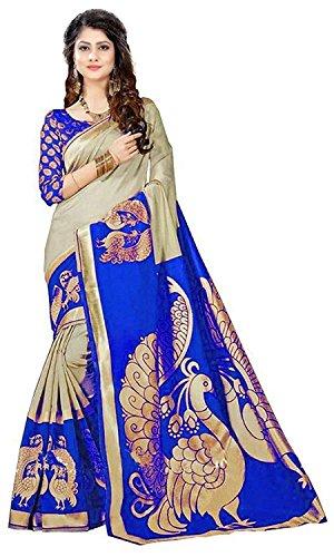 Gauri Laxmi Enterprise Women's Cotton Silk Saree With Unstitched Blouse Piece