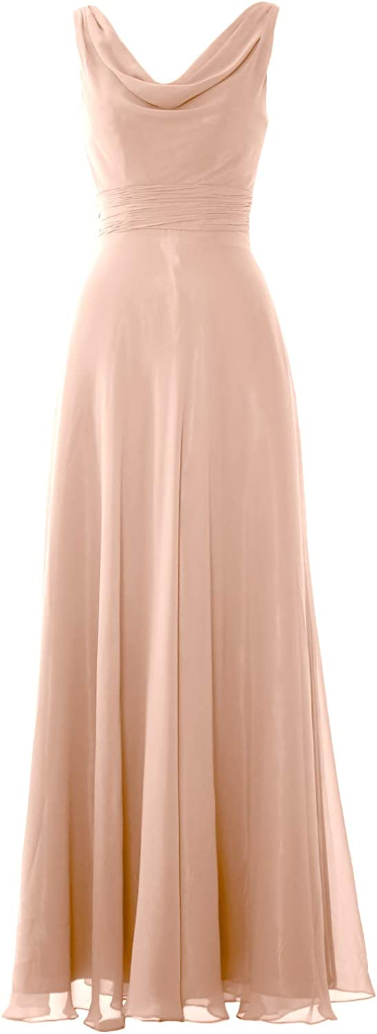 MACloth Women Straps Cowl Neck Wedding Party Formal Gown Long Bridesmaid Dress