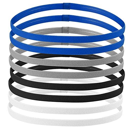 AvoDovA Sport Stirnband Dünn, 8 STK Antirutsch Elastische Stirnbänder, Sport Haarband Dünn für Herren, Damen, Junge, Kinder, Schwarz, Weiß, Blau, Grau