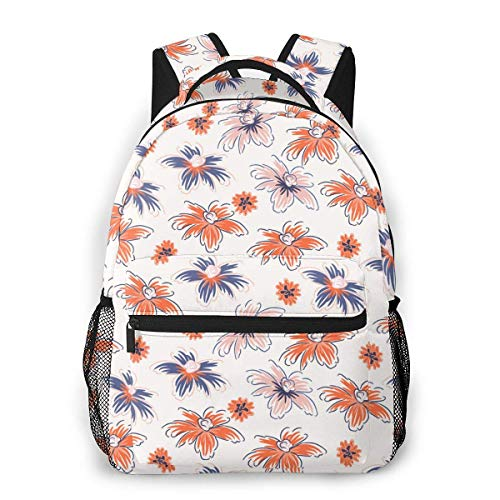 Lawenp School Backpacks Hand Drawn Flowers Pink Red for Teen Girls&Boys 16 Inch Backpack Student Bookbags Laptop Casual Rucksack Travel Backpack