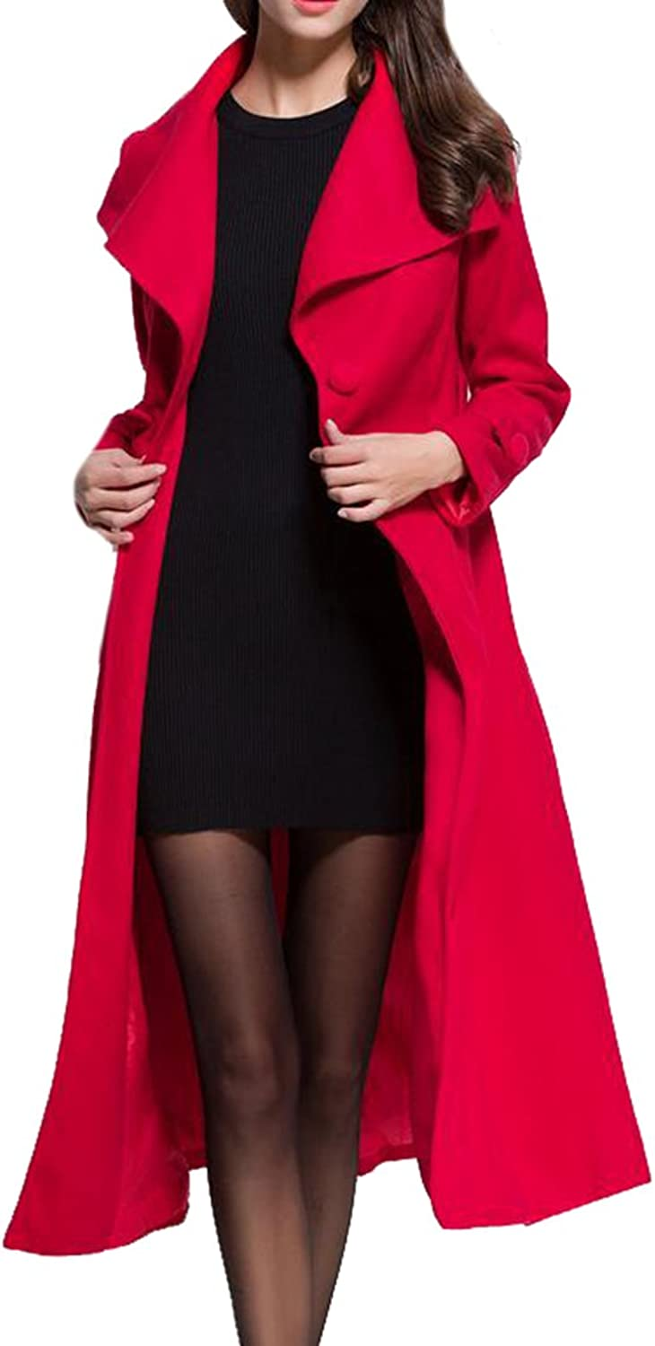 Big Tang Womens Wool Blended Elegant Lapel Belted Double Breasted Long Coat