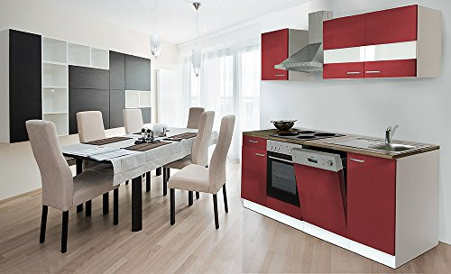 respekta Küche Küchenzeile Einbauküche 220 cm Weiß Front Rot Backofen KB220WR