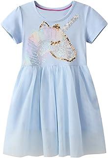 Baby Girls Tulle Cotton Dresses Short Sleeve Tutu Gauzy Dress for Girl 2-7 Years