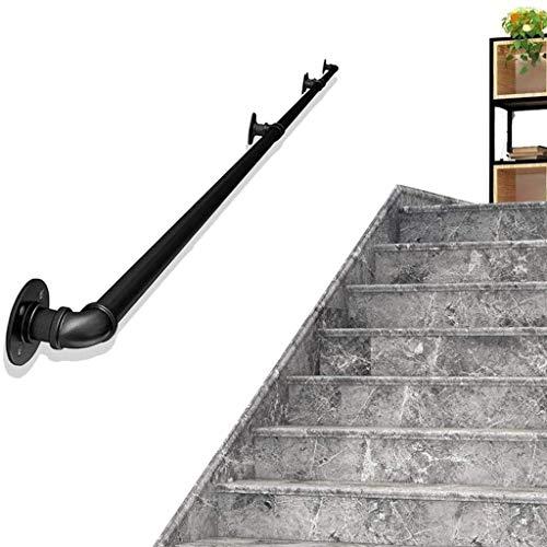 WENBING Baranda de Escalera de 20 pies-1 pie, Profesional Forjado Industrial Tubos de fierro Negro Seguridad pasamanos de la Escalera con Soportes de Montaje en Pared,15ft