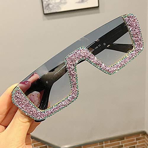 Moda Gafas De Sol Cuadradas De Lujo para Mujer Diseñador De La Marca para Mujer Gafas De Sol De Diamantes De Imitación De Gran Tamaño Hombres Gafas De Medio Marco para Mujer Uv400 Púrpura