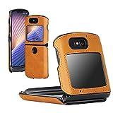 DDJ Schutzhülle für Motorola Razr 5G, flexibles PC-Leder, multifunktional, Schutzhülle für Moto Razr 5G, Gelb