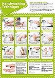 Daydream Education Técnica de lavado de manos   Carteles de salud y seguridad   Papel laminado brillante de 420 mm x 594 mm (A2)   Gráficos educativos de Daydream Education