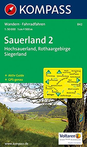 Sauerland 2 - Hochsauerland - Rothaargebirge - Siegerland: Wanderkarte mit Aktiv Guide und Radrouten. GPS-genau. 1:50000: Wandelkaart 1:50 000 (KOMPASS-Wanderkarten, Band 842)