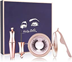 JAHUL Magnetic Eyeliner Kit,2 Pair of Magnetic False Eyelashes, Magnetic Eyeliner And Eyelashes Tweezers, No Glue Full Eye 5 Magnets Reusable Fake Eyelashes Natural Soft Eyelashes Extensions-Diamond