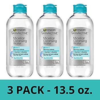 Garnier SkinActive Micellar Cleansing Water All-in-1 Waterproof Makeup Remover and Facial Cleanser 13.5 Fl Oz 3 Pack