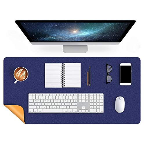 Dual-Sided Desk Mat 24 X 60 Inch Extra Large Desk Writing Pad on Top of Desks Office Desk Pad PU Leather Desk Blotter Protector Laptop Computer Keyboard Gaming Mouse Pad Organizer Non-Slip Blue/Yellow