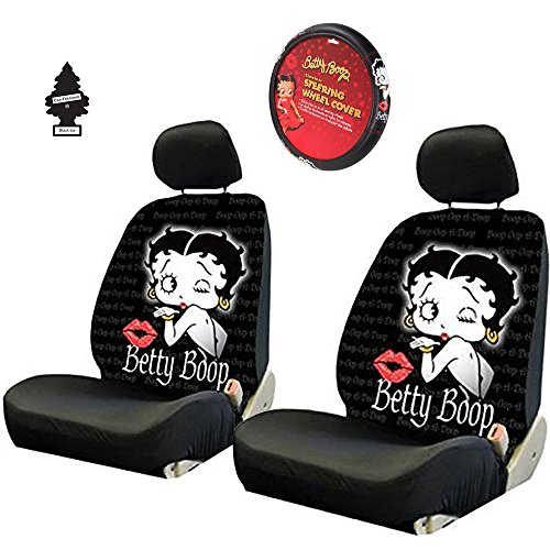 Yupbizauto New Betty Boop Timeless Front Low Back Car Seat Covers & Steering Wheel Cover