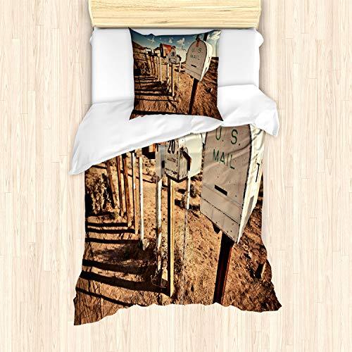 ABAKUHAUS Verenigde Staten Dekbedovertrekset, oude Brievenbussen, Decoratieve 2-delige Bedset met 1 siersloop, 135 cm x 200 cm, Bruin Blauw Wit
