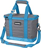 CleverMade Collapsible Cooler Bag with Shoulder Strap: Insulated Leakproof 30 Can Portable Soft Beverage Tote with Bottle Opener for Camping, Lunch, Beach, Picnic; Grey/Blue, 20L