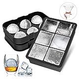 FYLINA Eiswürfelform 45mm Eiskugelform 48mm 6-Fach Eiswürfelbehälter Silikon Eiswürfelformen Ice Cube Tray Würfel Eiswürfel Form BPA Frei für Whisky, Cocktails, Saft, Schokolade, Süßigkeiten