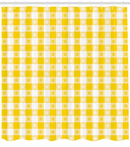 Ambesonne Yellow and White Shower Curtain, Checkered Motif with Little Spring Blooms Classic Country Picnic Pattern, Fabric Bathroom Decor Set with Hooks, 105 inches Extra Wide, Yellow White