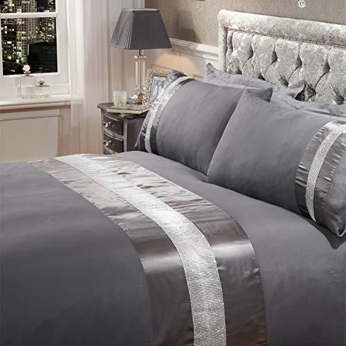 Sienna Diamante Housse de Couette, Dark Grey-superking, 100% Polyester Microfibre, Charbon de Bois, Super King Size